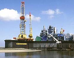 The oil field Mittelplate in the tidal flat area of the German North Sea