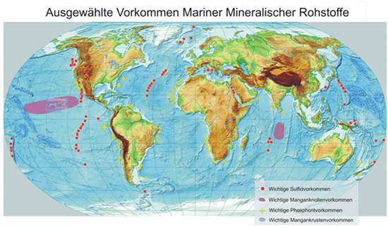 Locations of important marine mineral deposits