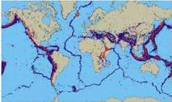 Global distribution of earthquake epicentres (blue dots) and volcanoes (red dots)