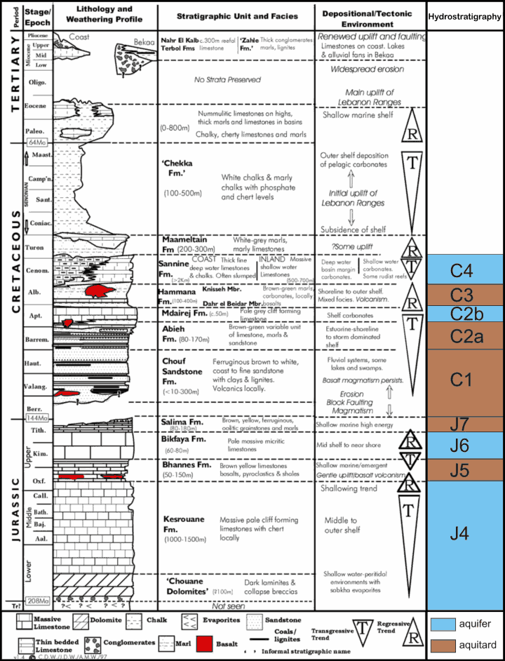 Hydro-lithostratigraphy of the Jeita catchment