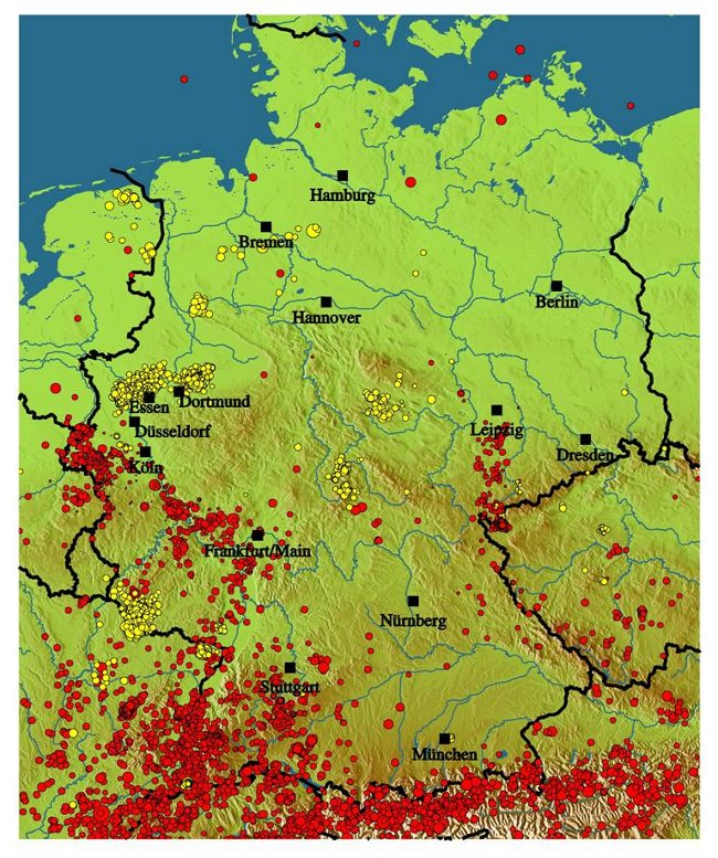 Erdbeben Deutschland Karte.Bgr Erdbebenuberwachung Seismizitat In Deutschland