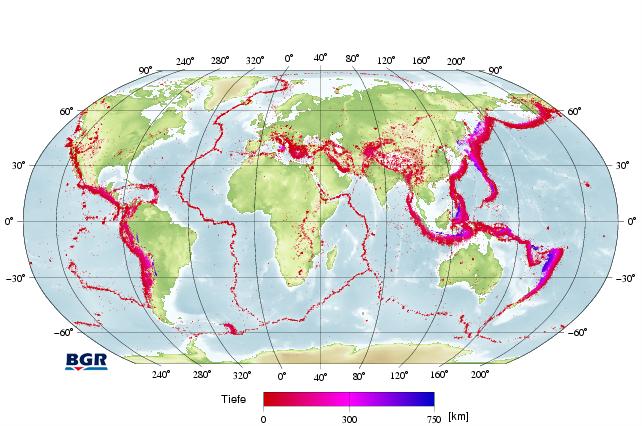 erdbeben karte BGR   Weltweit: seit 1954