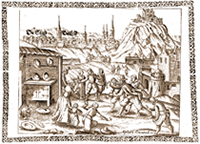 Historical representation of earthquake impacts in Bielefeld 1612 (Alzenbach, 1612)