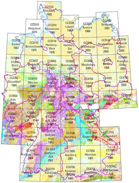 geologische karte deutschland BGR   Geologie 1 : 200 000   Blattübersicht zur Geologischen