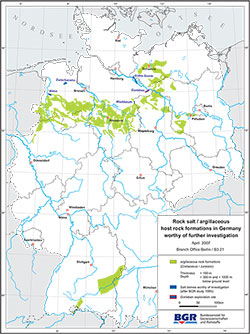 Map of rock salt and claystone formations deemed worthy of investigation in Germany in previous studies