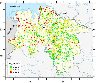 Spatial distribution of methane concentrations compiled from the first sampling campaign in 2014. Concentrations' distribution varies according to local geological conditions and covers a broad span (nano- to milliliter gas per liter groundwater)
