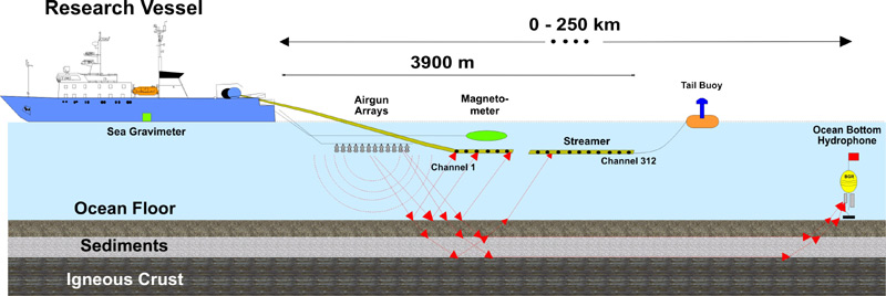 Offshore reflection seismic data acquisition using airguns and streamer