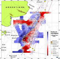 Map of sediment thickness off Argentina