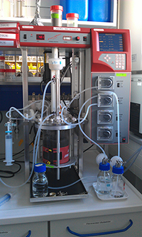 Bioreactor for metal bioleaching in the geomicrobiology laboratory of BGR