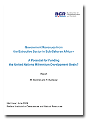 "Title page ""Government Revenues from the Extractive Sector in Sub-Saharan Africa - a potential for funding the United Nations Millenium Development Goals"", 2009"