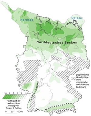 Distribution and sediment thickness of Mesozoic-Cenozoic basins and grabens in Germany