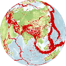 The Earth showing the distribution of earthquakes (dots) covering a period of 50 years. Most of the earthquakes clearly occur along the plate boundaries