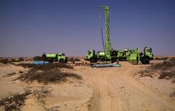 Well drilling activities in the Namib Desert