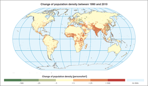 Change of population density between 1990 and 2010